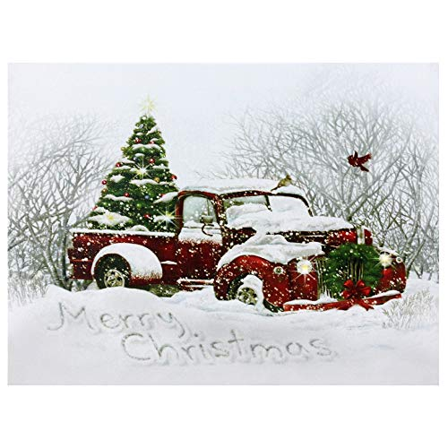Northlight LED Fiber Optic Truck and Tree Christmas Canvas Wall Art 12' x 15.75'