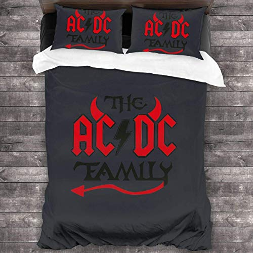 YYdg ACDC Band Family 3-Piece Bedding Set Duvet Cover Quilt Covers 86'x70', Twin Throw Pillow Cases Cushion Sheets 20'x30'