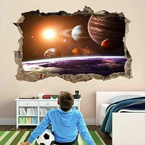3D Wandaufkleber Lmmlyryr 3D Wandaufkleber Planet Star Astronomie Abnehmbare zerbrochene Vinyl Poster Abnehmbare Diy Aufkleber Selbstklebende Kinderzimmer Dekoration Wandbild Deko Artikel