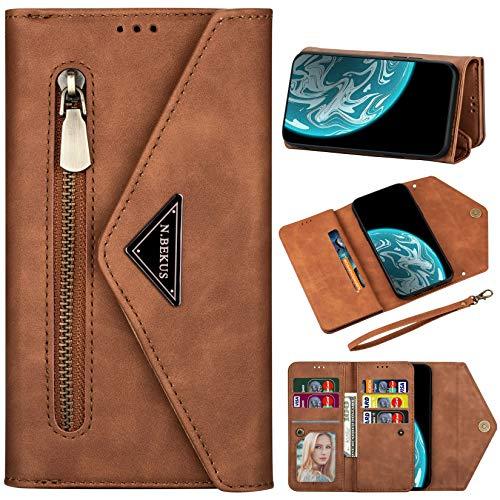Vepbk Brieftasche Hülle für Huawei P30 Lite [nicht für P30] Handyhülle, Handytasche Case Leder Geldbörse mit Reißverschluss Kartenfach Umhängeband Wallet Cover Klapphülle für Huawei P30 Lite,Braun