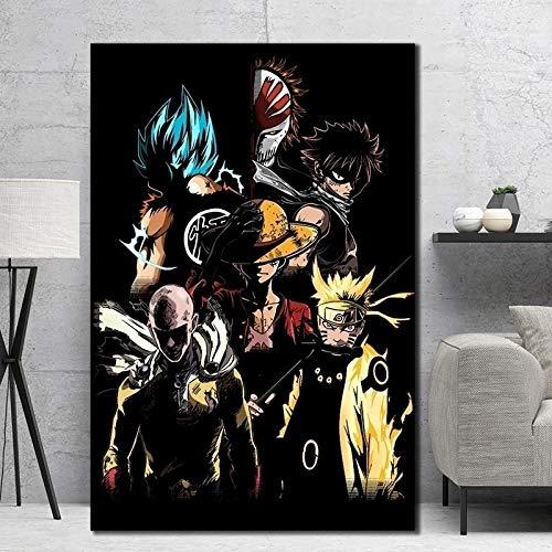 GJQFJBS Japanische Anime Cartoon Charaktere Leinwand Malerei Goku Ninja Ruffy Poster Wandkunst Bild Schlafzimmer Dekor (Rahmenlos) A1 40x70CM