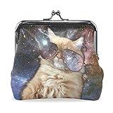 GORIRA(ゴリラ) かっこいい 星空猫 超繊レザー&木綿 財布 がま口式小銭入れ ミニがま口