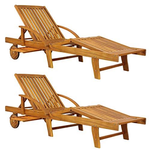 Deuba Sonnenliege Tami Sun 2er Set Akazien Holz verstellbar ausziehbarer Tisch klappbar Gartenliege Holzliege Liege