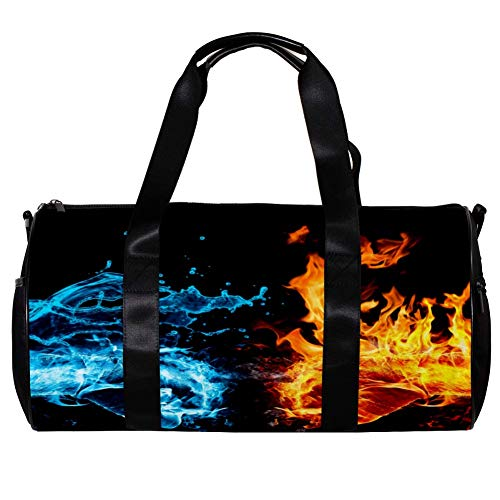 LEVEIS Water And Fire Sports Duffel Bag Travel Tote Carry on Weekender Gym Overnight Bag for Men & Women