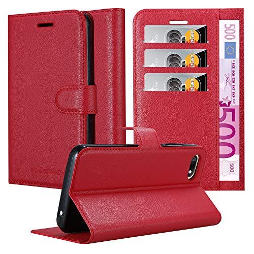 Cadorabo Hülle für WIKO Sunny 3 - Hülle in Karmin ROT - Handyhülle mit Kartenfach & Standfunktion - Hülle Cover Schutzhülle Etui Tasche Book Klapp Style