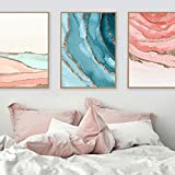 Nórdico abstracto mar río lienzo pintura azul rosa pared arte carteles e impresiones hoja de oro cuadro de pared para sala de estar decoración artística 50x70cmx3 sin marco