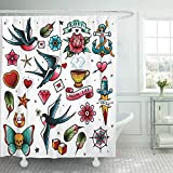 Emvency Shower Curtain Ribbon Traditional Old School Tattoo Knife Flash Skull Heart Shower Curtains Sets with Hooks 60 x 72 Inches Waterproof Polyester Fabric