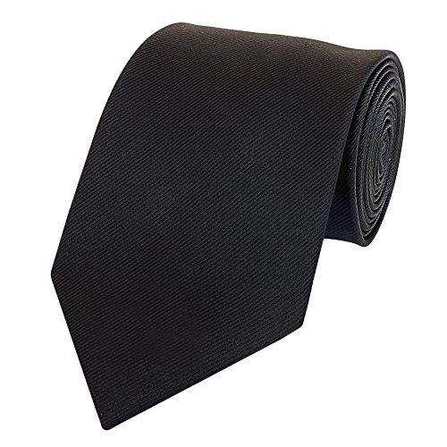Fabio Farini - vellutata cravatta da uomo a tinta unita larga 8 cm per il matrimonio, il compleanno o l'ufficio nero brillante