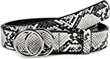 styleBREAKER cinturón de mujer con motivo de serpiente y hebilla de anillo, cinturón para la cadera, cinturón para la cintura 03010094, tamaño:80cm, color:Negro-Blanco