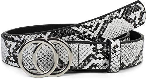 styleBREAKER Damen Gürtel mit Schlangen Muster und Ringschnalle, Hüftgürtel, Taillengürtel 03010094, Größe:100cm, Farbe:Schwarz-Weiß