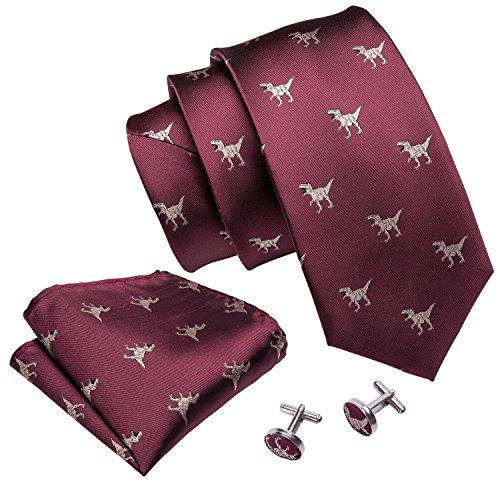Barry.Wang - Corbatas formales para hombre, de seda con pañuelo y gemelos, para bodas negocios. Rojo A Borgoña 5060 Talla única