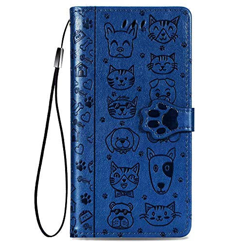 CaseHQ Compatible with iPhone 6 Plus / 6S Plus / 6+ Case PU Leather Wallet Case Flip Folio Kickstand, Credit Card Slots, Magnetic Closure Wristlet Hand Strap, Stand Protective Cover, Blue
