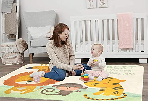 SHACOS Tappeto per Bambini Moderno A Pelo Corto Tappetino Gattonare Bambini Morbido Tappeti e scendiletto Lavabile Antiscivolo Tappeti Grandi per Bambini la Scuola Materna Camere 120x160cm