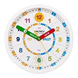Amonev Time Teacher Scope Wall Clock for Children, Easy to Read Dial with Silent Ticking. Teach Children how to Read and Tell the Time with this Analogue Clock.