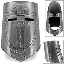 AnNafi Visored Great Crusaders Helm | German & European Closed Helmet Flat Top Plate Armor Helmet| 18G Steel