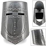 AnNafi Visored Great Crusaders Helm   German & European Closed Helmet Flat Top Plate Armor Helmet  18G Steel
