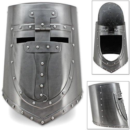 AnNafi Visored Great Crusaders Helm | Deutscher & Europäischer geschlossener Helm Flat Top Plate Armor Helm | 18G Stahl