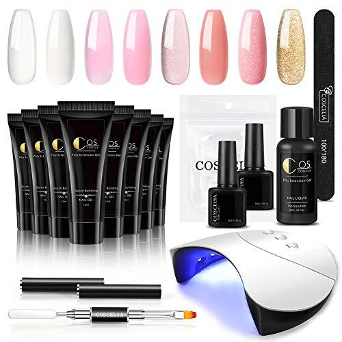 Coscelia 8 stks Nail Extension Gel Starter Set UV Glitter Gel Nagels 36 W UV/LED Nagel Lamp Nail Design set Poly Extension Gel Manicure Set
