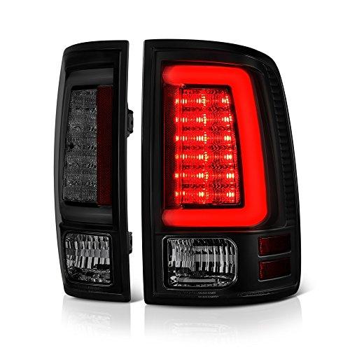 VIPMOTOZ Premium OLED Neon Tube Tail Light Lamp For 2013-2018 RAM 1500 2500 3500 - [Factory LED Model] - Matte Black Housing, Smoke Lens, Driver & Passenger Side