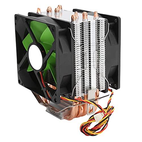 Enfriador de CPU de 9 cm, radiador de Ventilador Doble de 3 Pines con 6 Tubos de Calor, Enfriador de Aire de CPU Apto para LGA775 / 1155/1156/1366 AMD AM2 / AM2 + / AM3