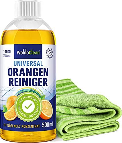 Orangenölreiniger Konzentrat Set fettlösend und hochkonzentriert - 500ml Reiniger & Mikrofaser Borstentuch
