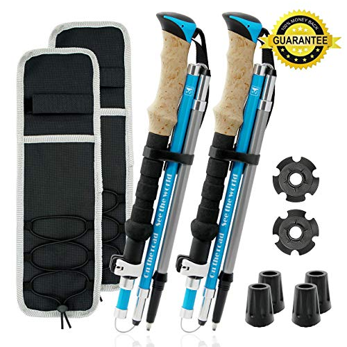 Lightweight Trekking Poles Collapsible, Foldable Walking Sticks for Hiking, 1 Pair