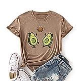 Mujer de manga corta Color gráfico camisetas camisetas femeninas camisetas para las mujeres divertidas fruta aguacate alimentos saludables se aplican a la escuela fitness vida diaria etc-Kaki_Xxxl