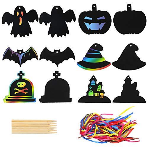 Koogel 48 imágenes para rascar Halloween, juego de manualidades de papel para rascar calabaza Halloween Scratch Art para niños Halloween cumpleaños fiesta decoración