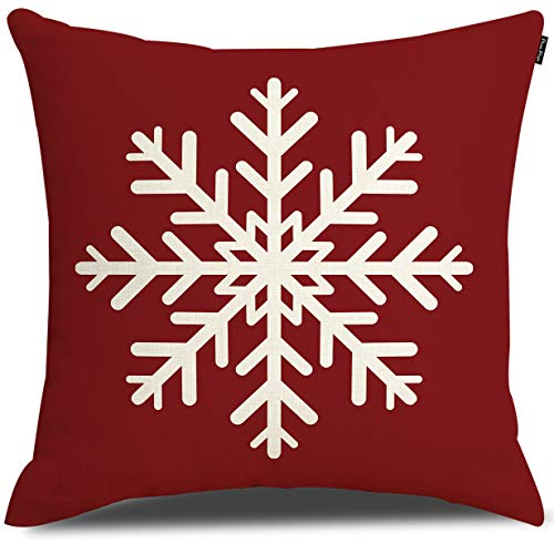 RUOAR Merry Christmas Snowflake Throw Pillow Cover Cushion Case Cotton Linen Material Decorative 18' x18'' Square Pillow