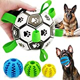 Upgraded Dog Soccer Ball with Grab Tabs and 3 Teeth Cleaning Chewing IQ Treat Balls, Interactive Dog Toys for Small & Medium Dogs, Durable Tug & Fetch Toy Herding Dog Balls for Lawn Park Water, 4 Pack