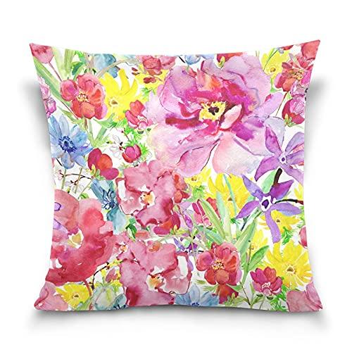 cuadrado decorativo fundas de almohada flor rosa amarilla floral flor silvestre cremallera suave Funda Cojin funda de almohada para sofá cama de 45x45 CM