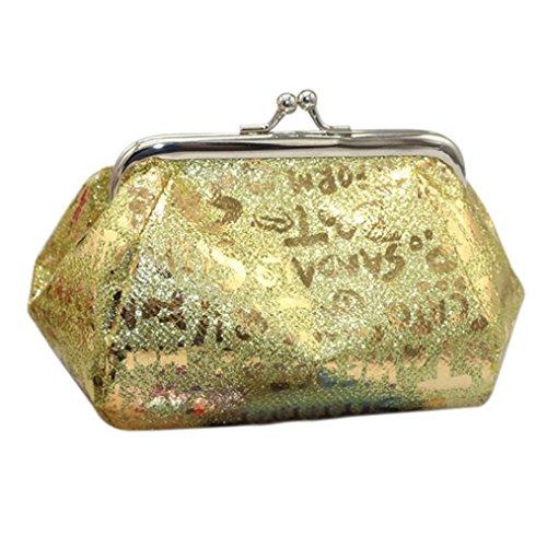 Damen Geldbörse FORH Clip-Verschluss Portmonee Schlüsselanhänger Ring Kosmetiktasche Mädchen PU-Leder Tasche Laser Münzen Geldbeutel Mode Pouch Kleine Ledertasche (Gold A)