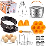 Pressure Cooker Accessories Set by Zerphino - fits Instant Pot 6/8 Qt - Kit includes Steamer Basket, Springform Pan, Egg Bites Mold, Kitchen Tong, Dish Clip, Magnetic Sheets, Egg Rack and Oven Mitts