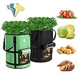 Tvird Macetero Bolsa Planta 2 Pack 10 Galones, Bolsa de Verduras, Bolsas de Cultivo, para Plantas Vegetales Aptas para Plantas de Patata, Zanahorias, Tomates, Cebollas y Otros