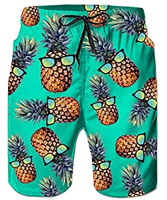 Men's Swimming Trunks Guys Swimsuits Tropical Aloha Hawiian Green Pineapple Glass Tropical Surf Boardshorts Bathing Suits for Male Boy Swimwear Holiday Swim Shorts with Mesh Lining