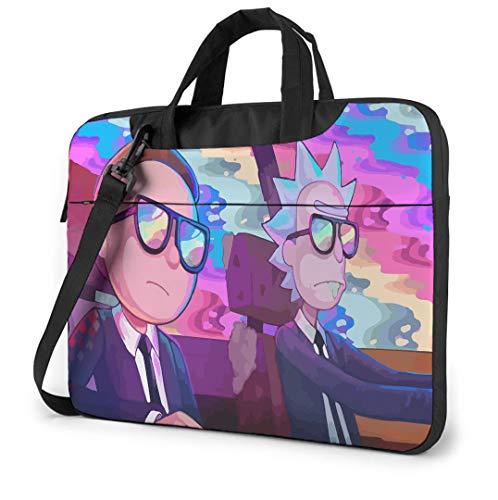 14 Inch Laptop Bag Rick & Morty Laptop Case Laptop Shoulder Bag with Zipper and Pockets, Laptop Sleeve Shoulder Bag for Women and Men, Morty Smith Rainbow Rick Sanchez Run The Jewels