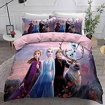 Jacrarr Frozen Kids Duvet Cover Set,Beauty Lady Anna Elsa Frozen Decorative 3 Piece Bedding Set with 2 Pillow Shams Girls and Teens Queen Size