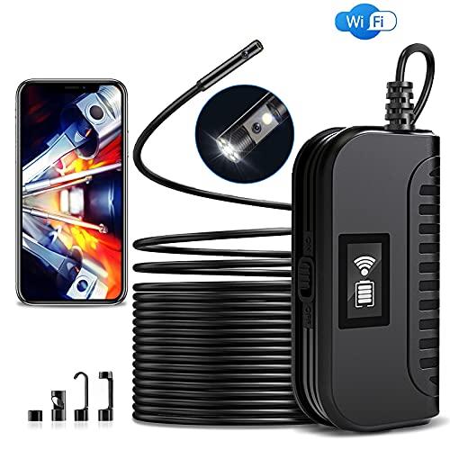 WiFi Endoscopio Doppia Lente, 1944P HD Boroscopio 5,0 MP 8mm Zoomabile Telecamera di Ispezione Tubi con Cavo Semirigido da 10m e 6 Luci a LED, IP67 Impermeabile per Smartphone Tablet Tubo Fognario