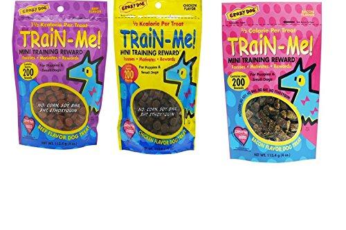 Crazy Dog Train-Me! Training Reward Dog Treats 3 Flavor Variety Bundle: (1) Train-Me! Bacon Flavor, (1) Train-Me! Chicken Flavor, and (1) Train-Me! Beef Flavor, 4 Oz. Ea. (3 Bags Total)
