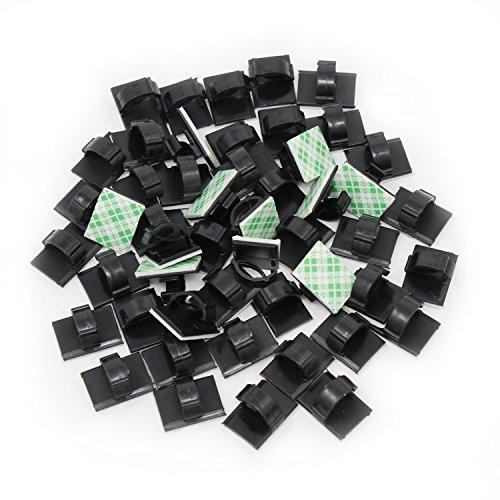 KEESIN 50 Stück selbstklebend Kabel Halter Kunststoff schnell Tie Kabel Clips KFZ Kabel-Organizer, Schreibtisch Wand Kabel Draht Clips, Schwarz