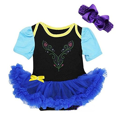 STARKMA Baby Anna Princess Black Royal Blue Bodysuit Tutu Costume Cosplay (M(3-6month))