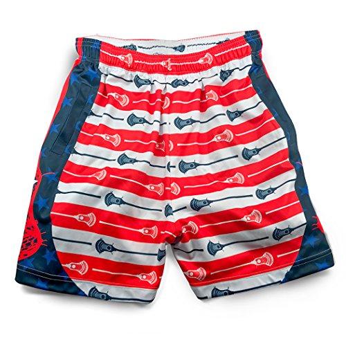 Premium Lacrosse Athletic Shorts   Patriotic Stars & Stripes   Youth Large