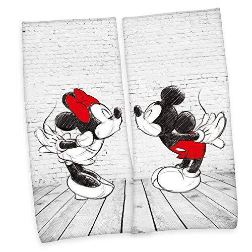 Herding Disney's Mickey & Minnie Mouse Velourstuch, Cotton, Mehrfarbig, 80 x 180 cm, 2
