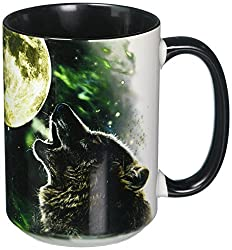 The Mountain 57205309001 Three Wolf Moon Coffee Mug, 15 oz, Black