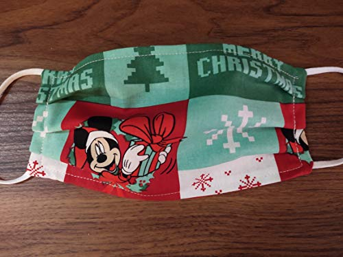 Disney Christmas Face Covering Mask- Mickey Mouse Merry Christmas - Med/Large and Small Sizes Available