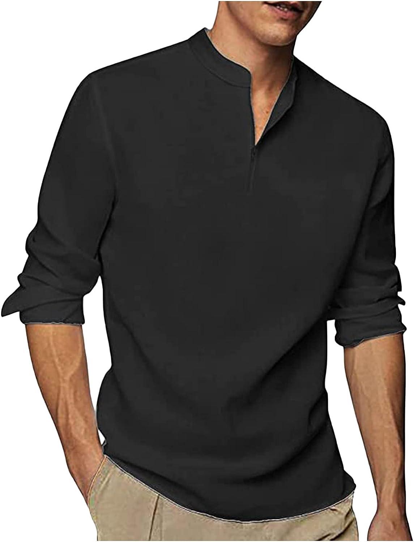 Shirts for Men Linen Cotton Henley Casual V Neck Short Sleeve Beach Hippie Yoga Tops Beach Pullover Tees White Shirts