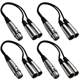 SEISMIC AUDIO SA-Y2 4 Pack 1-Feet Splitter Patch Cables 1 XLR Female to 2 XLR Male