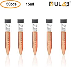 ULAB Autoclavable Polypropylene Centrifuge Tubes, Falcon Tubes, Vol.15ml 17x120mm, Blue Printed Graduated Marks from 1.5ml to 13ml, Assembled Leak-Proof Screw Cap, Gamma Sterile, 50pcs/Bag, UCT1008