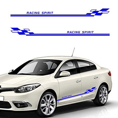 Cobear Auto Seitenstreifen Seitenaufkleber Aufkleber für R ENAULT Sandero Twingo Rennstreifen Racing Decals Viperstreifen Blau 2 Stück