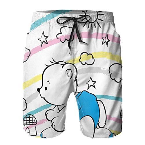 FULIYA Pantalones cortos para hombre de natación, pantalones cortos de trabajo, de secado rápido, con forro de malla y bolsillos, pantalones cortos para hombre